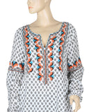 Sundance Embroidered Floral Printed Tunic Top L