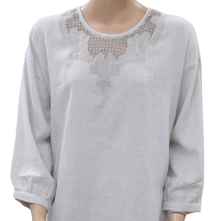 MKT Studio Holem Crochet Embroidered Tunic Top L