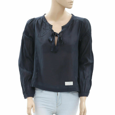 Odd Molly Anthropologie Embroidered Black Blouse Top S-1