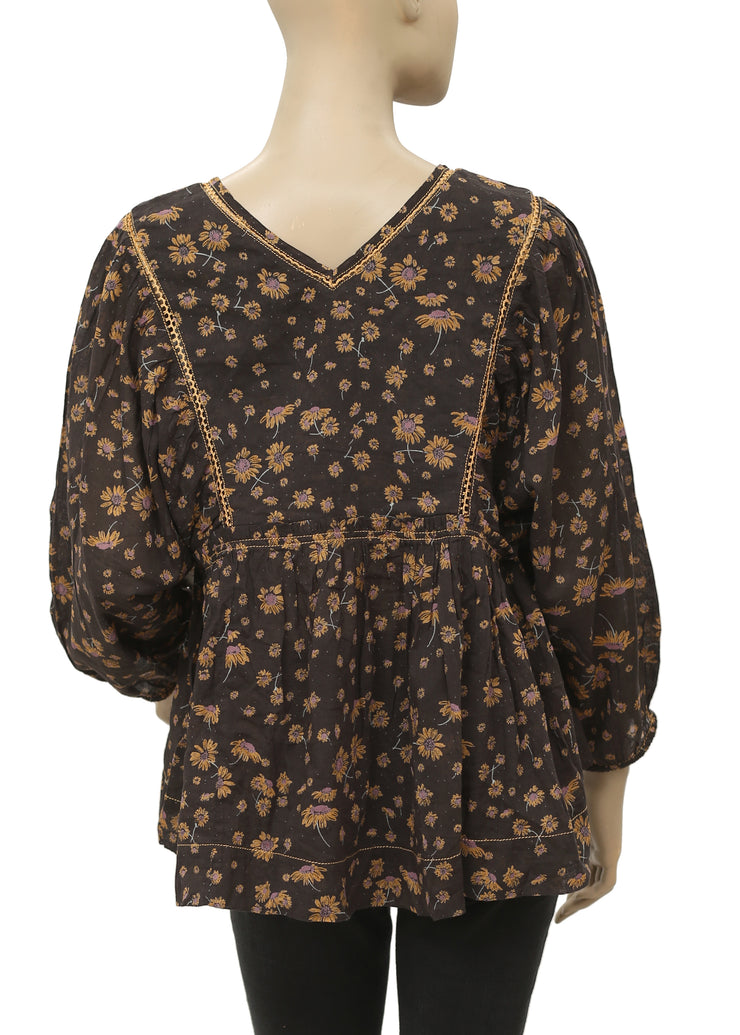 Free People Floral Printed Ruffle Top S