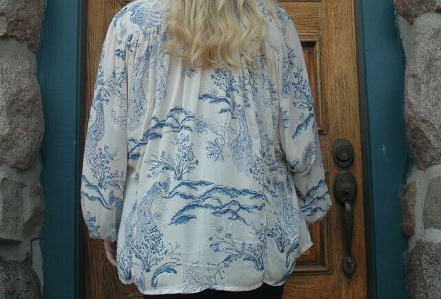 Free People Metallic Blooms Ivory Print Tunic Top Buttondown Shirt L