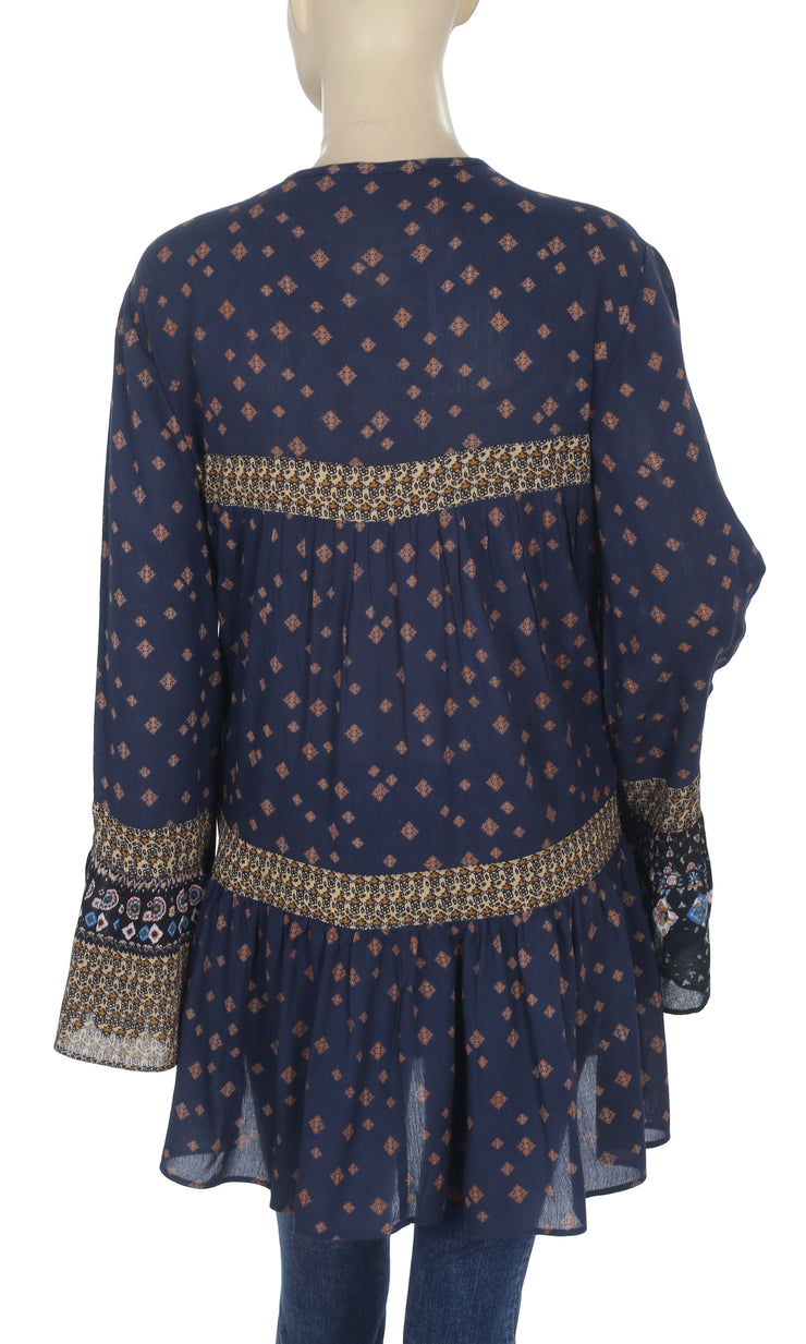 Ecote Printed Bell Sleeve High Low Navy Tunic Top M