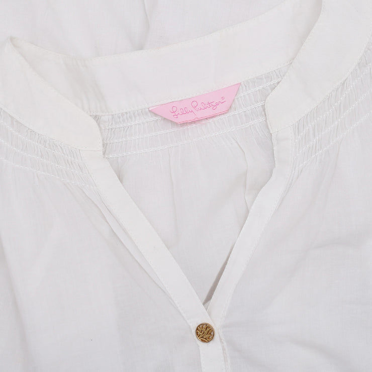New Lilly Pulitzer Floral Embroidered Button down White Blouse Top M