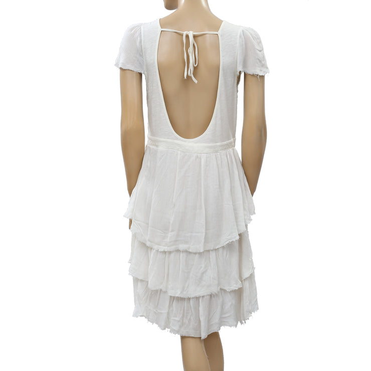 Free People Embroidered Tiered Mini Dress