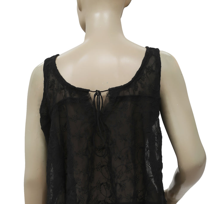 Free People Eyelet Embroidered Black Sheer Top S