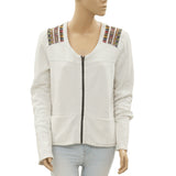 New Free People Embroidered Zipper Causal Jacket Blouse Top M