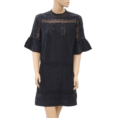 Ulla Johnson Eyelet Embroidered Lace Black Mini Dress S