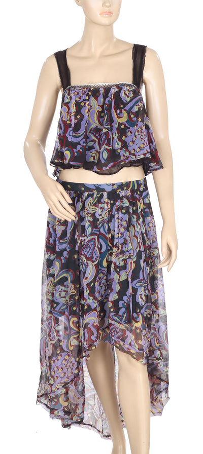 Free People Printed Lace High Low Crop Top & Skirt M