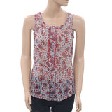Isabel Marant Paisley Printed Buttondown Lace Blouse Tank Top XS