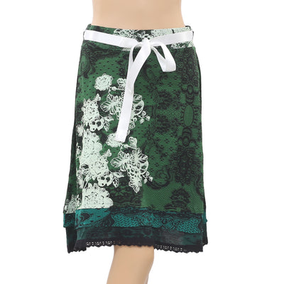 Desigual Rubber Printed Lace Green Mini Skirt High Waisted S