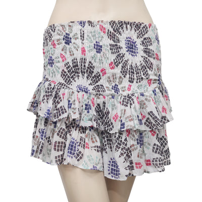 Free People FP One Pepita Printed Tiered Gray Skort Shorts XS
