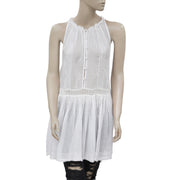 Free People FP One Ruffle White Sheer Dress S