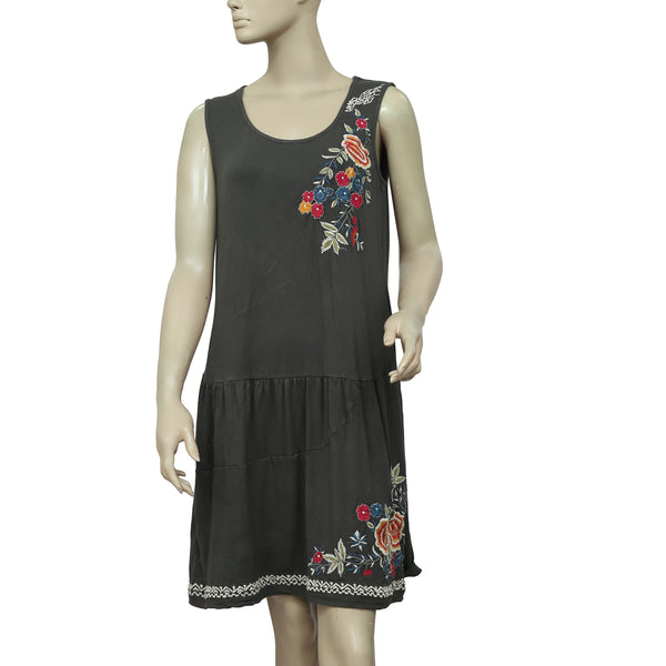 Caite Floral Embroidered Dark Gray Mini Dress M