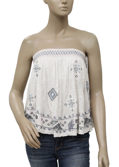 Free People Into The Night Strapless Smocked Top S