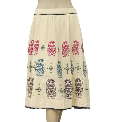 Floreat Anthropologie Doll Embroidered Mini Skirt S 6