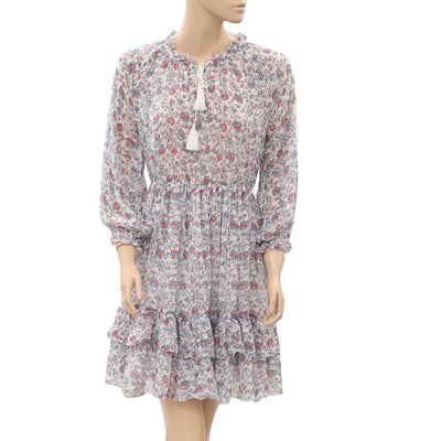 Ulla Johnson Floral Printed Mini Dress Tiered Multicolor Front Tie S New