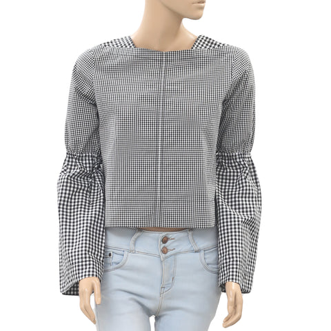 Derek Lam 10 Crosby Check & Plaid Printed Blouse Crop Top S