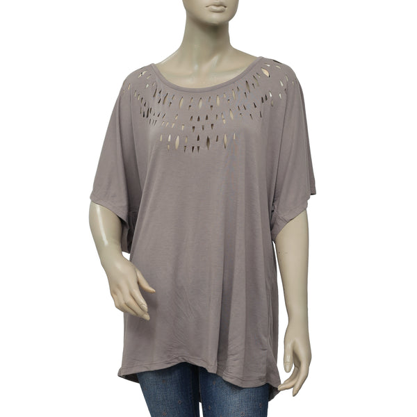 Free People Cutout Batwing Sleeve Top L
