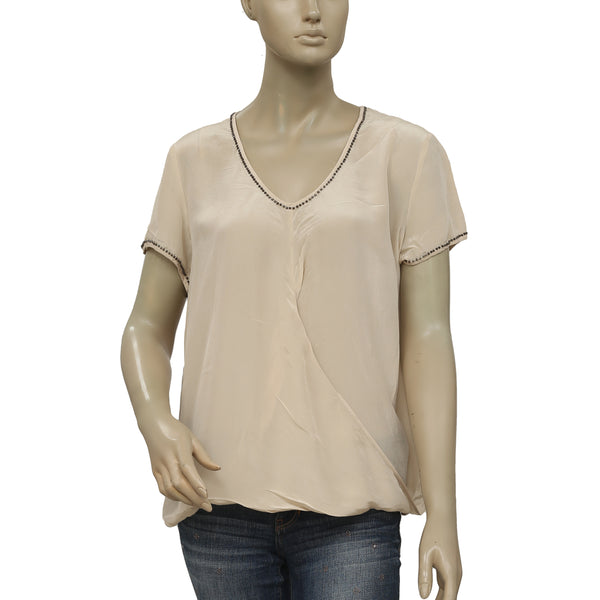 Saivana Bead Embellished Wrap Beige Blouse Top Large L