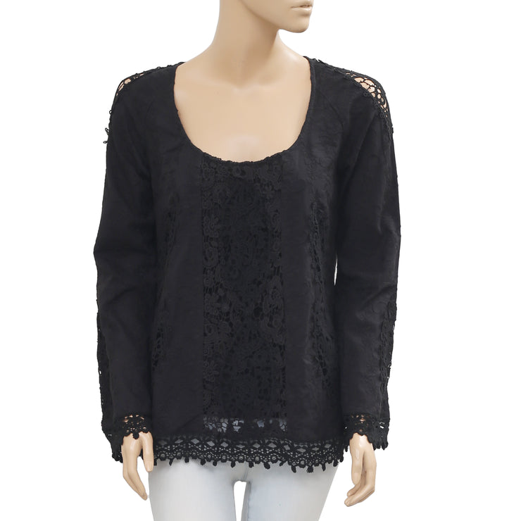 Odd Molly Embroidered Crochet Lace Cotton Black Blouse Top Small S 1
