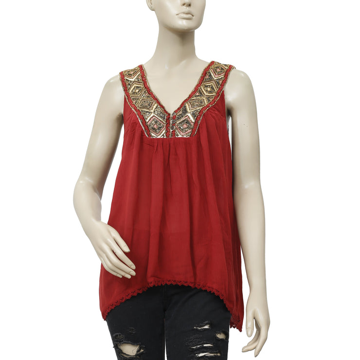 Free People Embellished Embroidered Blouse Top S