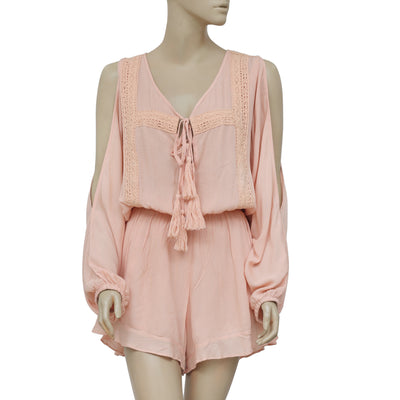 Elan Cold Shoulder Cover Up Lace Oversized Beach Romper S