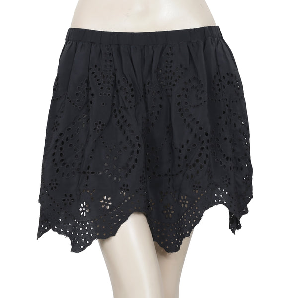 New Ulla Johnson Eyelet Embroidered Black Mini Skirt Large L