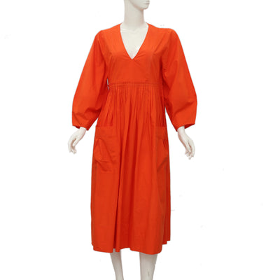 New Ulla Johnson Pleated Pocket Long Sleeve Casual Orange Midi Dress M