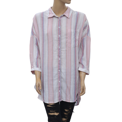 Anthropologie Stripe Printed Blouse Shirt Top Oversize Buttondown M/L