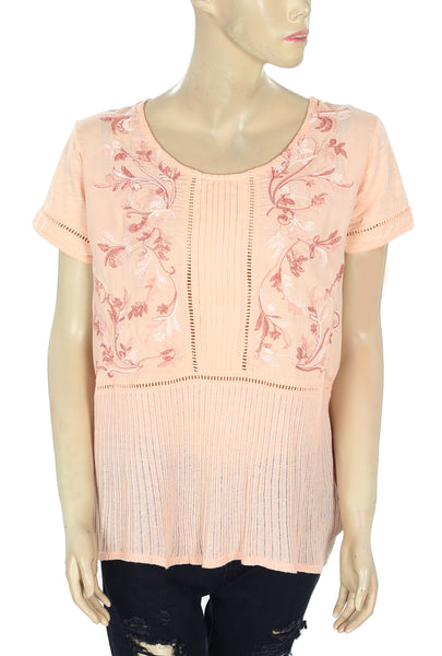 Meadow Rue Anthropologie Embroidered Peach Blouse Top L