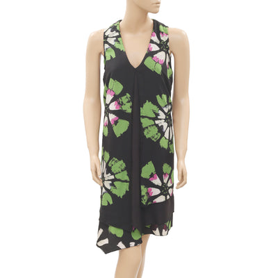 New Desigual Floral Printed Sleeveless High Low Black Tunic Dress XXS
