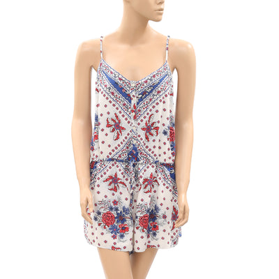 Denim & Supply Floral Printed Boho Romper Dress L