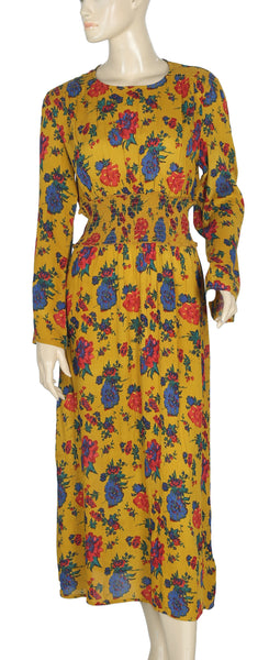 Kimchi Blue Urban Outfitters Floral Shirred Waist Midi Dress M