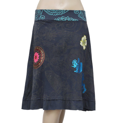 Desigual Floral Printed Patchwork Navy Skirt S