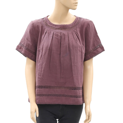 Lilla P Lace Pleated Short Sleeve Dark Purple Cotton Blouse Top XL