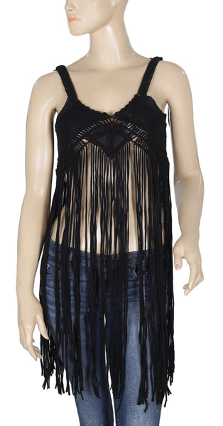 Staring At Star Anthropologie Fringes Black Top XS