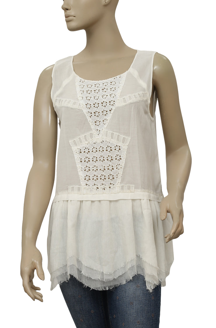 Free People Floral Embroidered Eyelet Sleeveless Ivory Tunic Dress S