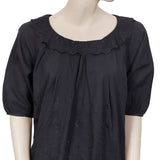 Cherir La Femme Embroidered Beads Embellished Black Blouse Top L