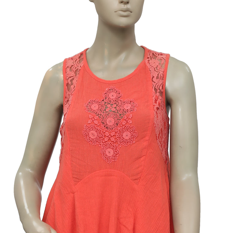 Free People Endless Summer Floral Pattern Crochet Coral Top S
