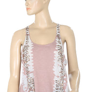 Morgan De Toi Embellished Printed Sleeveless Brown Blouse Top Medium M