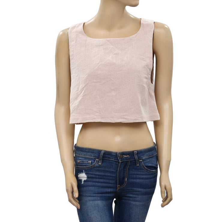Free People Buttoned Back Open Top M