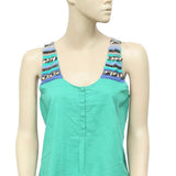 Saivana Anthropologie Embellished Green Tunic Top S