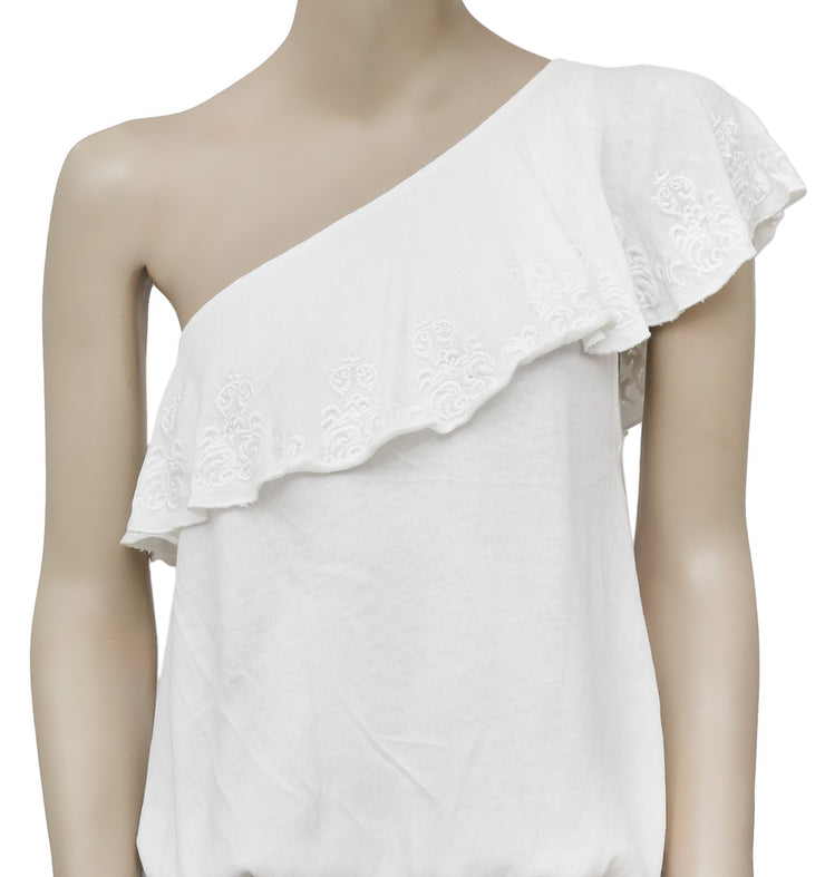 Free People Marabella Embroidered One Shoulder White Blouse Top S
