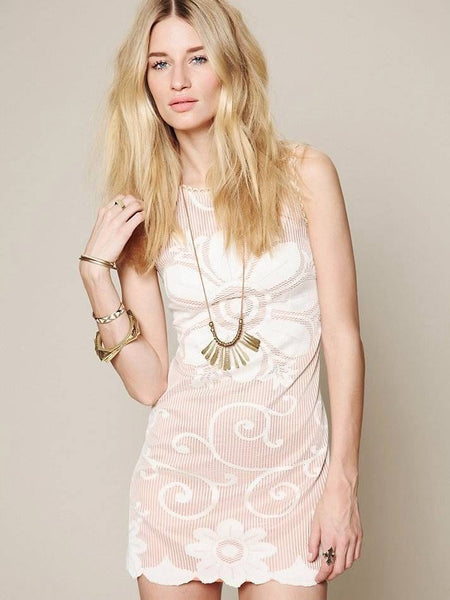 NWT Free People New Romantics Almost Famous Lace Pink Sand Mini Dress S