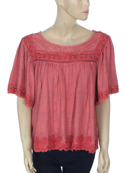Free People Embellished Lace Rust Top Medium M