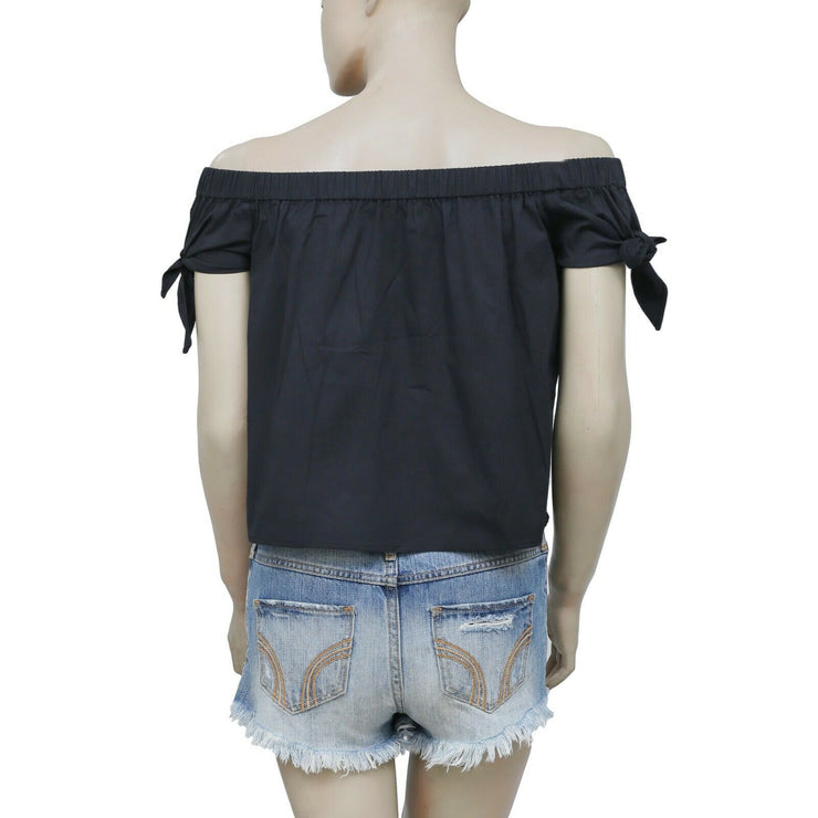 Free People Off Shoulder Cotton Black Blouse Top Endless Summer XS