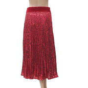 Uterque Pleated Sequinned Maxi Skirt Velvet Evening Zipper Red Boho S
