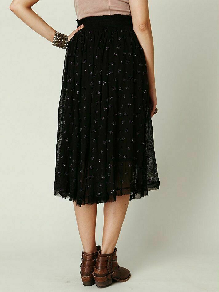 Free People Embroidered Midi Skirt XS