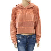 Free People Piper Pieced Crop Hoodie Top