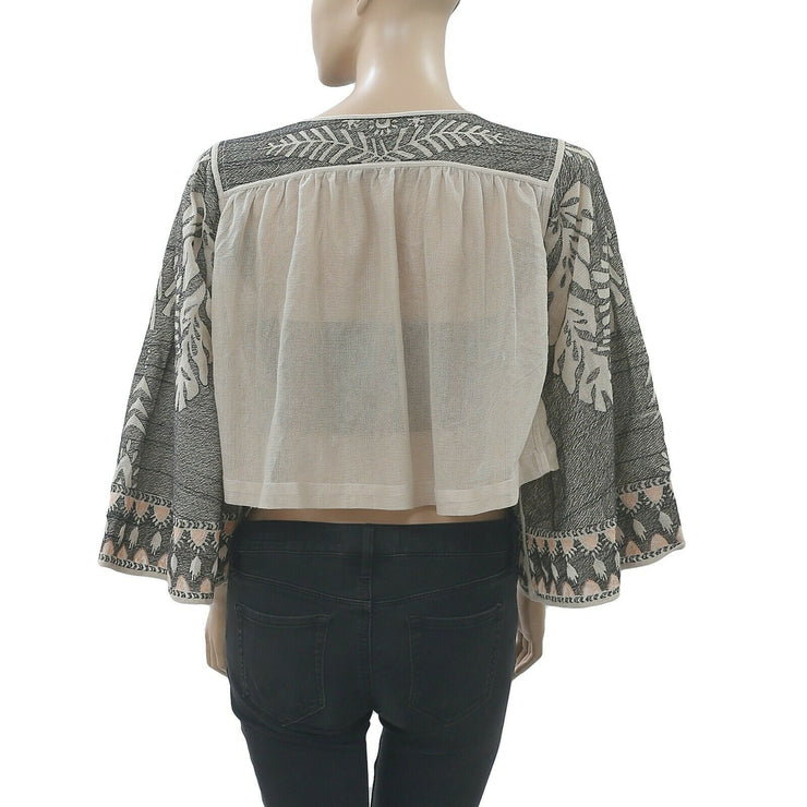 Free people Embroidered Blouse Crop Coverup Top Front Open  S